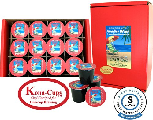 12 Single-Serve Cups of Water Process Decaf Organic Arabica Coffee, for Use With Keurig K-cup Brewing Systems, From Aloha Island Coffee