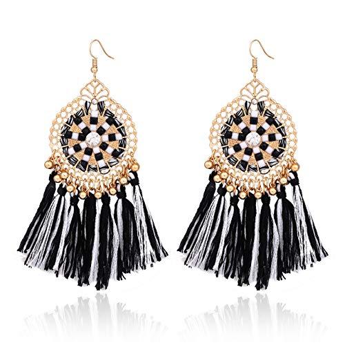 HSWE Multicolored Short Tassel Earrings for Women Colorized Thread Fringe Earrings for Girls Custom Jewelry for Lady Dangle Drop Earrings (mixture)