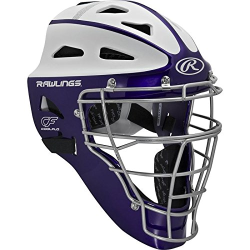 Rawlings Sporting Goods Adult Softball Protective Hockey Style Catcher's Helmet, Purple/White (Catchers Helmet Purple)