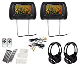 "Pair Rockville RHP7-BK 7"" Black TFT-LCD Car Headrest Monitors+2 Wireless Headset"