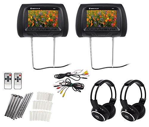 "Pair Rockville RHP7-BK 7"" Black TFT-LCD Car Headrest Monitors+2 Wireless Headset by Rockville"