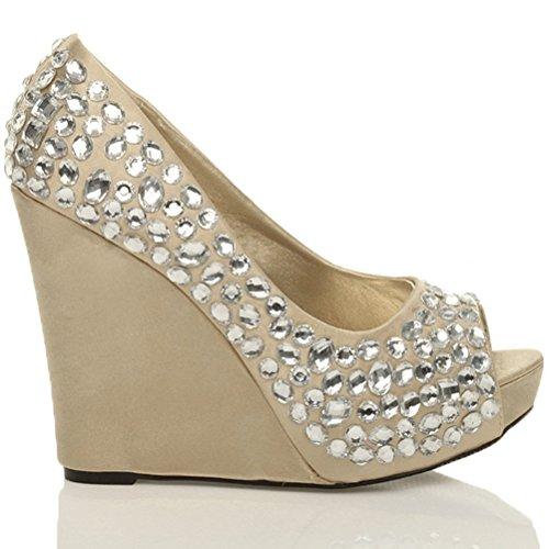 Mujer Boda Plataforma Cuña Mujer Novia Gems Noche Prom zapatos de peep toe sandalias tamaño Dorado - dorado/plateado