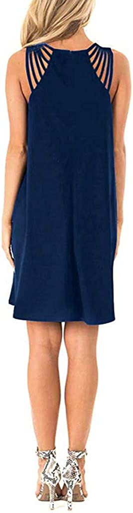 YBWZH Women Summer Dress Women Flowy Maternity Dress Solid Spaghetti Strap Hollow Strap Sleeveless Beach Slip Dress Elegant Chic Casual Dress
