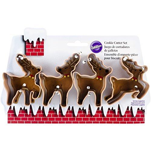 Wilton 2308-5075 4-Piece Christmas Reindeer Metal Cookie Cutter Set, Small B01C85EJR4