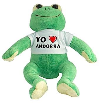Rana de peluche con Amo Andorra en la camiseta (ciudad / asentamiento)