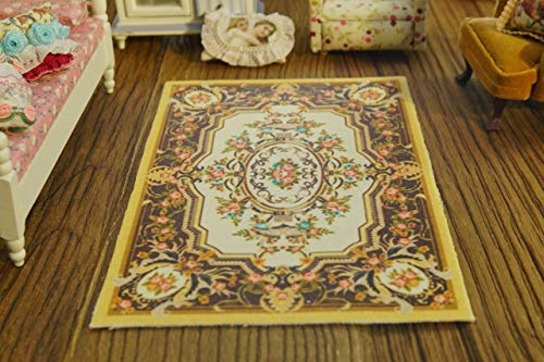 - Dollhouse French Design Coffee Beige Beautiful Flowers Nice Lace 1/12 Rug (8 X 10)