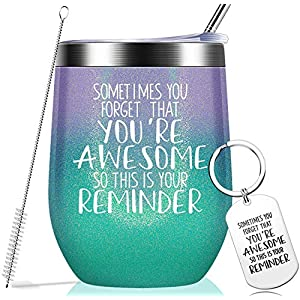 Make sure this fits by entering your model number. LOVE AT FIRST: Sometimes You Forget That You are Awesome. Your best friend, family & colleagues can feel your appreciation and encouragement no matter at home, office, driving or traveling when they received the gifts. INSPIRATIONAL GIFT: This funny inspirational saying is printed on the cup and engraved on the keychain, it is a great gift idea to remind people do not forget how awesome they are.