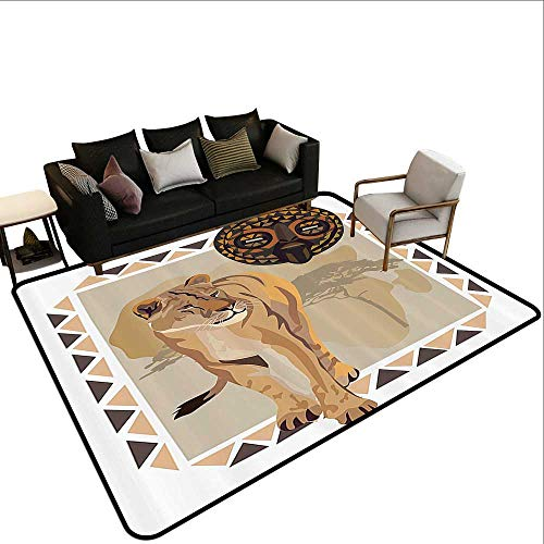 Safari Decor Collection Illustration of Tiger with African Tribal Icon and Ethnic Patterns Wild Nature Art Anti-Slip Doormat Footpad Machine Washable5'6 x8'6 Cream Beige Brown ()