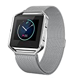 Smart watch band, stainless steel mesh watch band, adjustable Milan Bracelet Band, Magnetic Button Design, FitBit Blaze Smart Wrist Band (gray)