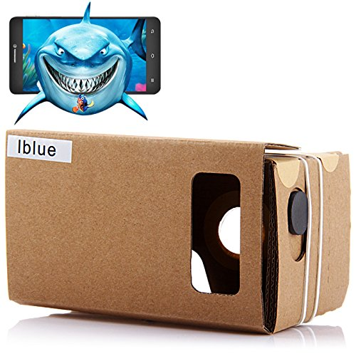 iBlue DIY Cardboard 3D VR Virtual Reality Glasses with Magnetic Sensor/Resin Lens for 3.5-5.5 inches Screen
