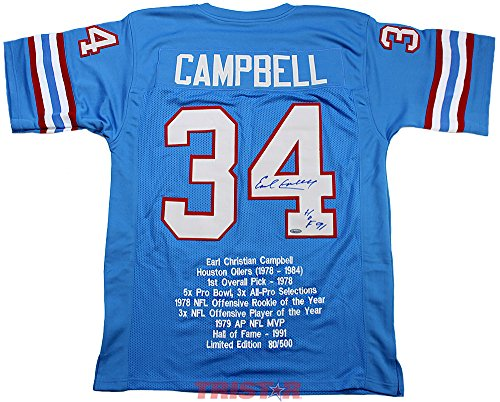 Earl Campbell Signed Autographed Houston Oilers Custom Blue Stat Jersey Inscribed HOF 91 TRISTAR COA Signed Autographed Oilers
