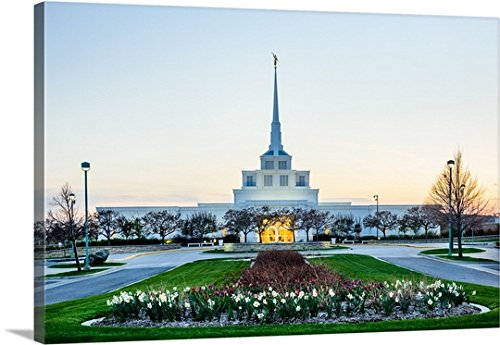 Gallery-Wrapped Canvas entitled Billings Montana Temple, Gardens at Sunset, Billings, Montana by Scott Jarvie - Billings Rimrock Montana