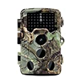 D&F Trail Camera 1080P 16MP with Sound Scouting Camera with 2.4'' TFT LCD Display Low Glow Black Infrared Night Vision 0.5s Trigger Speed IP56 Waterproof for Game & Wildlife Hunting