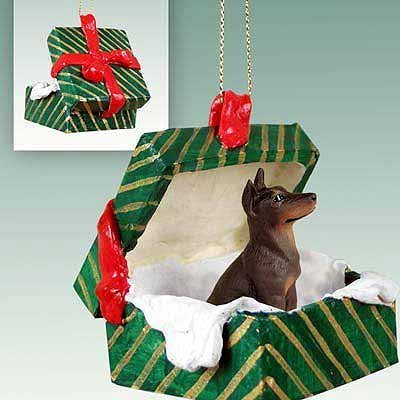 Conversation Concepts Doberman Pinscher Red w/Cropped Gift Box Green Ornament by Conversation Concepts (Pinscher Ornaments Red)