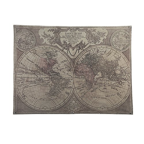 Old World Linens (OYGROUP Retro Vintage Old World Map(Length 48xHeight 36 Inches) Linen Painting Wall Decor Bar Hotel Coffee Shop Office Home Living room Dining room Bedroom Decoration No Frame)
