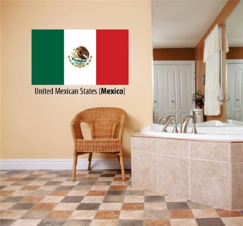 - Decal – Vinyl Wall Sticker : United Mexican States (Mexico) Flag Country Pride Symbol Sign / Banner Emblem - Home Decor Boys Girls Dorm Room Bedroom Living Room Peel & Stick Picture Art Graphic Design Car Window Text Lettering Mural – Size : 10 Inches X 20 Inches - 22 Colors Available