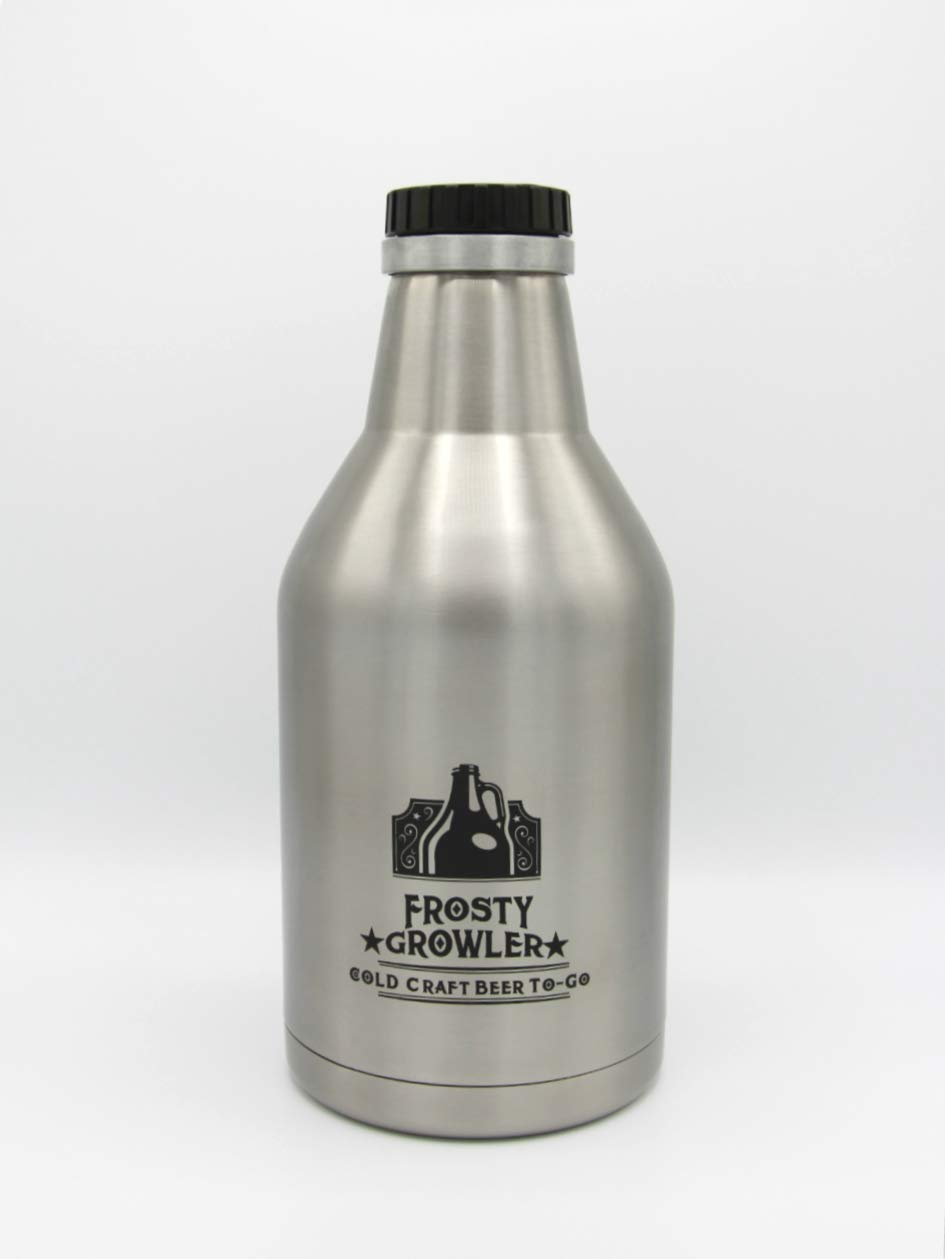 Frosty Growler Double-walled Insulated Stainless Steel Growler - Keep Your Beer/Wine/Lemonade/Sparkling Water Cold and Carbonated for 24 Hours - with Wide-mouth Lid and Handle for Easy Pouring- 64 oz