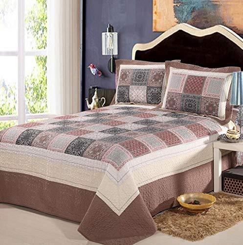 ベッドライニング キルトのベッドカバー綿100%3ピースパッチワークキルトセットソフトベッドカバー掛け布団セット - キングサイズ寝具セット 写真ベッドライニング B07SY85SW1