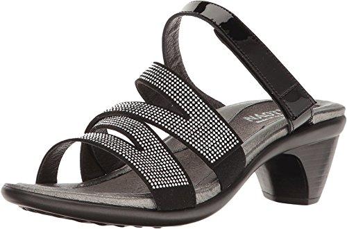 Naot Footwear Women's Formal Black Patent Leather/Black Microfiber/Silver Rivets Sandal by NAOT