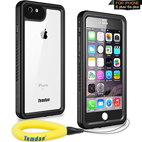 Temdan iPhone 6s Plus / 6 Plus Waterproof Case with Kickstand and Floating Strap Shockproof Waterproof Case for iPhone 6s Plus / 6 Plus(5.5inch) (Black)