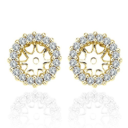 1.40 Carat White Diamond Earrings Jackets 6 MM2.00 Carat Total Weight 14K Yellow Gold Halo Stud Solitaire