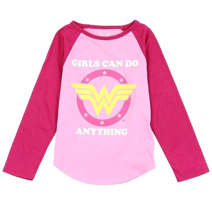 6cce9fda3 Amazon.com: Wonder Woman Toddler Girls' Long Sleeve T-Shirt Top, 2T ...