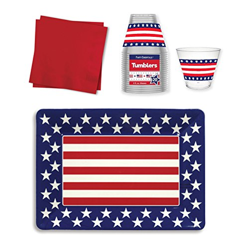 Patriotic Parties Serving Tray with Plastic Party Cups & Beverage Napkins