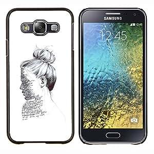 TECHCASE---Cubierta de la caja de protección para la piel dura ** Samsung Galaxy E5 E500 ** --escritor lectura retrato tinta blanca profunda