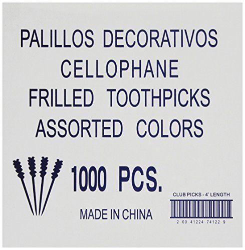 Roland Cellophane Frilled Toothpicks, 1000 Count (Pack of 5) by Roland
