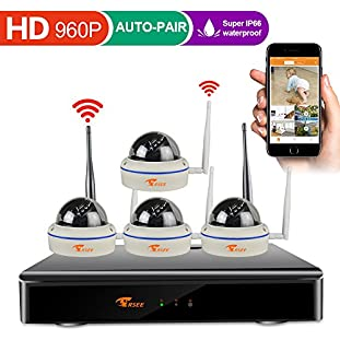 [8CH Expandable System] CORSEE High Definition 8CH 960P DVR Wireless Security Camera System with 4 x 1.3 Megapixel Outdoor Good Night Vision Dome Cameras,No Hard Drive [Extendable More Wifi Cameras]
