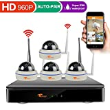 [8CH Expandable System] CORSEE High Definition 8CH 960P DVR Wireless Security Camera System with 4 x 1.3 Megapixel Outdoor Night Vision Dome IP Cameras,No Hard Drive (Easy Remote View by Smart Phone)