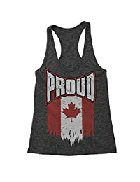 Expression Tees Canada Proud Triblend Racerback Tank Top for Women