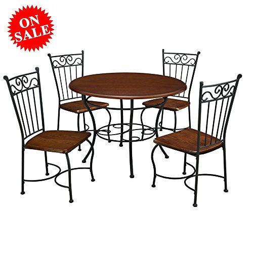 Saver Dinette Space Set (Compact Dinette Set with 4 Chairs Round Table Wooden Metal Furniture 5PC Industrial Contemporary Space Saver Kitchen Diving Room Solid Wood Brown eBook by Easy&FunDeals)