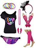 Womens 80s Accessories Set I Love The 80's T-Shirt with Neon Fanny Packs (XL, Hot Pink)