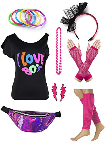 Womens 80s Accessories Set I Love The 80's T-Shirt with Neon Fanny Packs (M, Hot Pink) -