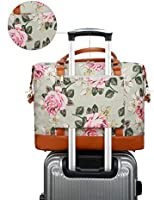 5be6a424395 Women Ladies Canvas Weekender Bag Overnight Carry-on Tote Duffel in Trolley  Handle (Flower-grey)