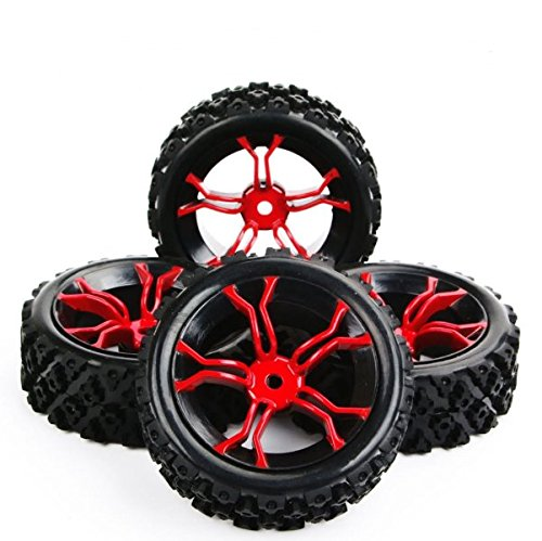 Ruixunte 4Pcs Tires&Wheel Rubber Rally Tyre 12mm Hex Rim For RC 1:10 Racing Off Road Car