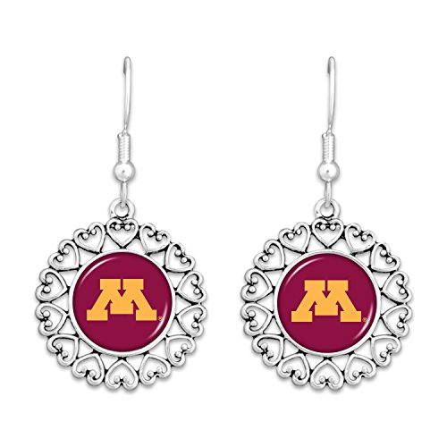 [Minnesota Golden Gophers Logo Circle Earrings with Hearts] (Gopher Costumes)
