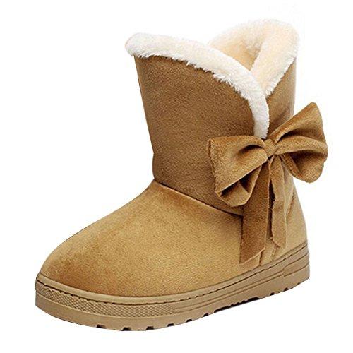 Hibote Botas de Invierno Para Mujeres Botas de Bow Decoración Botines Suela de Goma Zapatos Marrón