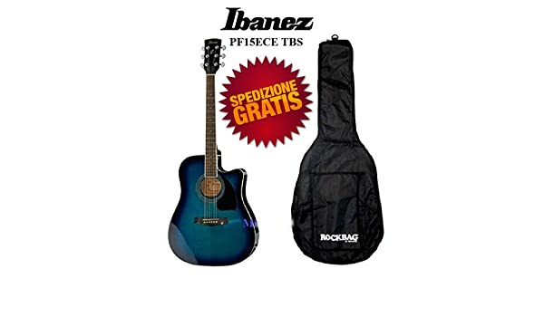 Guitarra Acústica Amplificada Ibanez pf15ece Ex V72 ECE TBS Azul Bolsa gratuito: Amazon.es: Instrumentos musicales