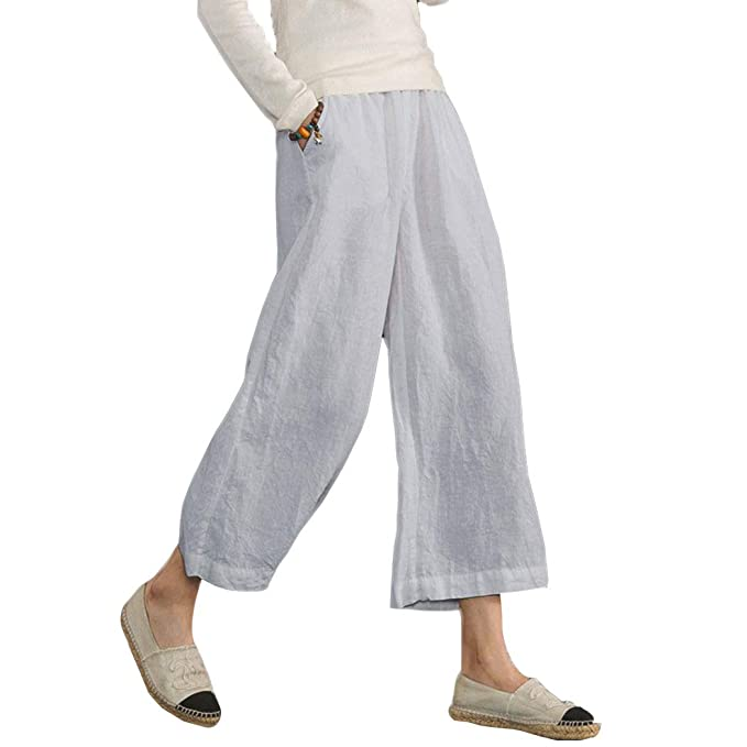 63754f5bb61 Ecupper Womens Elastic Waist Plus Size Cotton Pants Relaxed Fit Casual  Cropped Wide Leg Trousers Light
