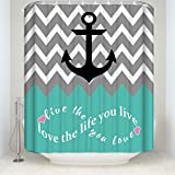 Infinity Live The Life You Love,Love The Life You Live Chevron Pattern with Nautical Anchor Turquoise Grey White Waterproof Bathroom Fabric Shower Curtain,Bathroom Decor (72 x 72 inch)