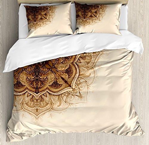 Elements Ottoman (Henna Duvet Cover Set King Size by Ambesonne, Vintage Hand Drawn Style Mandala Artwork Corner Ornament Ottoman Culture Art Elements, Decorative 3 Piece Bedding Set with 2 Pillow Shams, Tan Brown)