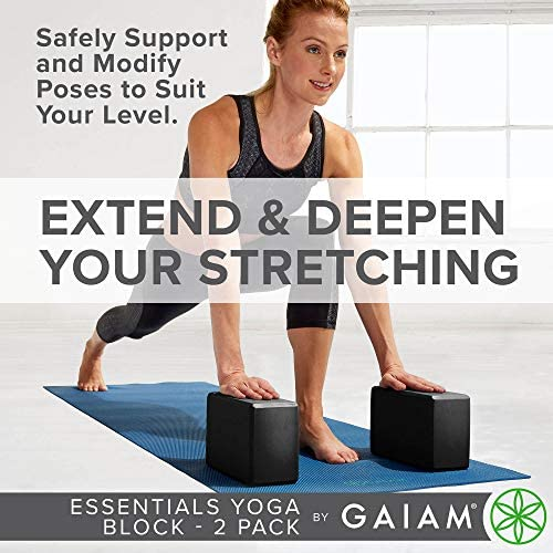 Gaiam Essentials Yoga Block (Set of two) - Supportive Latex-Free EVA Foam Soft Non-Slip Surface for Yoga, Pilates, Meditation