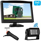 Emmako Backup Camera Digital Wireless and 5 Monitor System Kit No Flicker For RV/Truck/Trailer/Car/SUV IP68 Waterproof Rear View Camera Rear/Side/Front Facing View Continuous/Reverse Use Optional