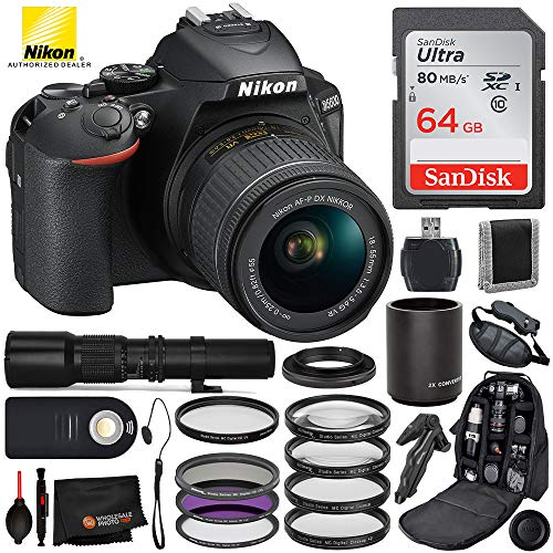 Nikon D5600 DSLR Camera with 18-55mm Lens(#1576), 500mm Telephoto Lens, 2X Converter, and T Mount with Essential Bundle - Includes: 4pc Macro Filter Kit, Professional Camera Bag, and More