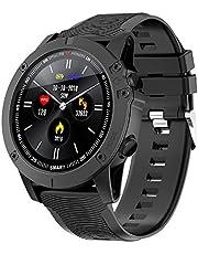 BYTTRON Bluetooth Smartwatch 1.3 Zoll Full Round HD Farbdisplay IP68 wasserdicht Fitness Tracker mit GPS Sport Tracking Nachricht Erinnerung Herzfrequenz Schlaf Tracker Intelligente Uhren(Schwarz)