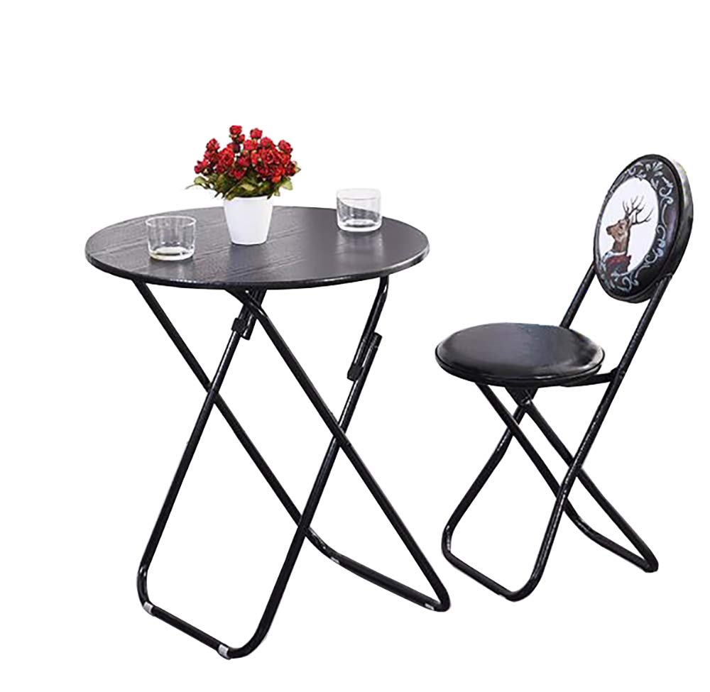 Simple Folding Small Chair Back Office Stool, Restaurant Round Seat Fishing Kitchen Outdoor Garden -Blacktable+Chair