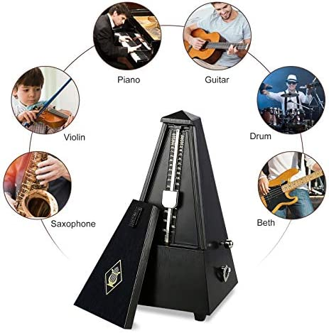YCDTMY Antique Mechanical Metronome,Traditional Wind Up Mechanical Metronome Guitar Parts High Precision Teak Antique Wooden Music Timer for All Kinds of Musical Instruments