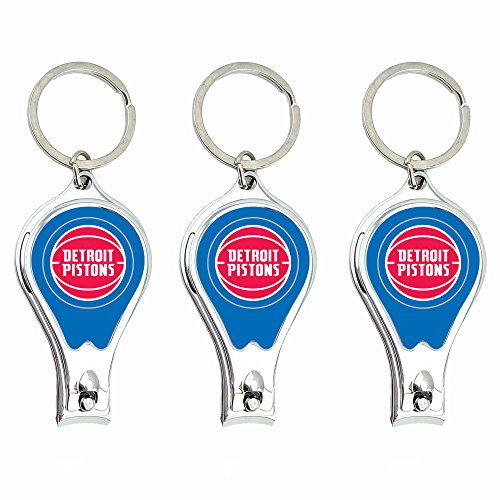 (Worthy Promo NBA Detroit Pistons Nail Clipper with Bottle Opener, Silver, Set of 3 )